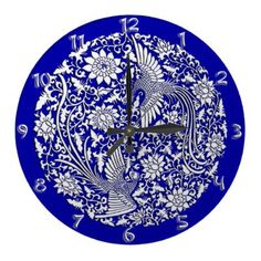 Chinese phoenix ancient Ming dynasty dish design digitally restored by YANKA available now on wall clock with full set of numbers from Zazzle, $24.99. Totally unique piece of art!