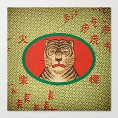 Tiger Matchbox Label Canvas