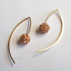 Pink crystal disco ball and 14k gold filled wire earrings