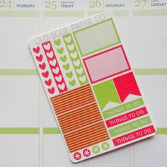 Color Lovers Planner Stickers  Hot Pink & Aloe by OldSoulPaperCo