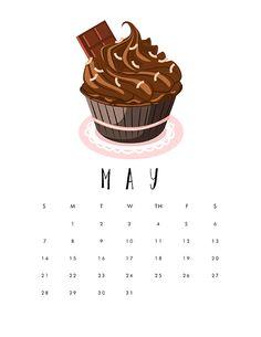 Free Printable 2017 Cupcake Calendar