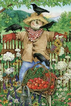 Toland Home Garden Friendly Scarecrow 28 x 40-Inch Decorative House Flag