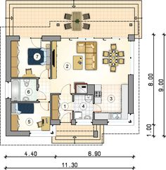 Tani w budowie dom parterowy z dwuspadowym dachem. My House Plans, Family House Plans, Village House Design, Village Houses, Small Floor Plans, Two Bedroom House, Cottage Renovation, Weekend House, Shipping Container Homes
