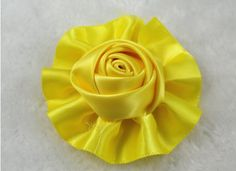 12pcs Satin the Ribbon Round Rose Flowers with the Appliques Craft DIY Wedding (Yellow) >>> You can get more details by clicking on the image.