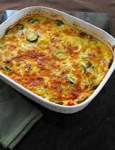 Summer Vegetable Breakfast Frittata | Frugal Antics of a Harried Homemaker       1 pound zucchini, sliced     1 pound yellow squash sliced     1 small sweet onion, chopped     1 large tomato, diced (or 1 can diced tomatoes, drained)     2 cups grated sharp Cheddar cheese     4 eggs     1 cup milk     1 clove garlic, minced     2 tsp basil     salt and pepper to taste