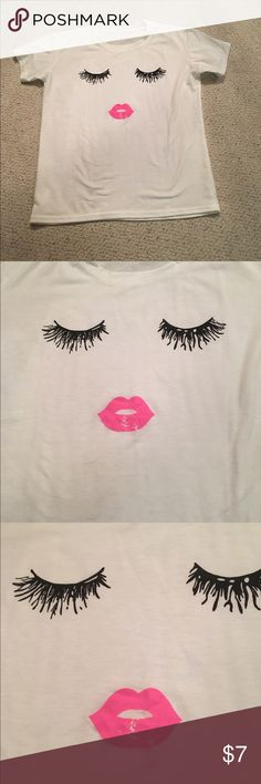 Eyes with lips shirt Black eye lashes with pink lips, white shirt, NWOT, never worn Tops Tees - Short Sleeve