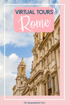 Planning a trip to Rome or dreaming of one? The Eternal City has a rich ancient and Renaissance culture, museums galore, and some of the world's most iconic landmarks and UNESCo sites. If you can't travel to Rome in person, in this Rome travel guide, you can travel there virtually with these amazing online tours. You'll visit Rome's fabulous must see sites -- museums, landmarks, ruins, churches, underground crypts, and palaces. Rome Itineraries | Rome Destinations | Virtual Tours | #rome… Italy Travel Tips, Rome Travel, Travel Guide, Virtual Travel, Virtual Tour, Romantic Italy, Rome Itinerary, Day Trips From Rome, Things To Do In Italy