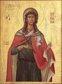 Orthodox Icon of Great Virgin Martyr Kyriake Byzantine Art, Byzantine Icons, Christian Couples, Christian Art, Religion Catolica, Orthodox Christianity, Catholic Saints, Art Icon, Orthodox Icons