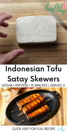"A fast and easy tofu satay with a lip-smacking peanut sauce! 👇 Click ""Visit"" below for the full recipe 👇 Vegan Fast Food, Healthy Vegan Snacks, Vegan Protein, Gluten Free Recipes, Vegan Recipes, Peanut Sauce Recipe, Vegan Dishes, Skewers, Plant Based Recipes"