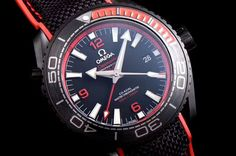 Omega Seamaster Planet Ocean 600M The Deep Black In Red GMT JH Ceramic Black Dial Swiss 8906