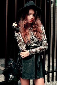 #motelrocks #dress #fashion #alanaruas #floral #leather #streetstyle