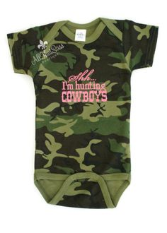 Baby Girls Embroidered Bodysuit - Shh... I'm Hunting Cowboys -Baby Shower Gift - Creeper - Camo - Camouflage - Pink - Cowgirl on Etsy, $18.00