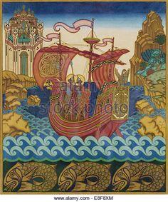 The Ship. Artist: Bilibin, Ivan Yakovlevich (1876-1942) - Stock Image