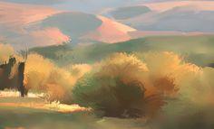 Nathan Fowkes Land Sketch: Central California