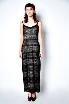 Vintage Lace Maxi Dress from Sunday. sundayshoppe.com #vintageshop #vintage #vintagelook #blackdress #lace #vintagefashion #sundayshoppe