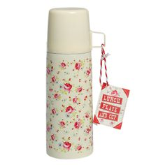 i do fancy many cuppas on that cute vintage thermo. La Petite Rose Flask And Cup | DotComGiftShop