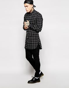 Image 4 of ASOS Smart Shirt In Longline With Large Grid Check