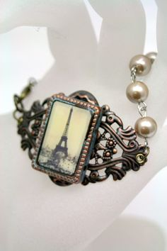 Treasured Find Mixed Media Paris Bracelet Altered Art Pearls French | shadesongs - Jewelry on ArtFire