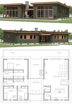 Home Plan, House Plan, Floor Plan #homeplan #houseplan #floorplan #smallhome #smallhomeplans #smallhouseplan Small Modern House Plans, Small House Design, New House Plans, Dream House Plans, House Floor Plans, Modern Architecture House, Architecture Plan, Story House, House Layouts