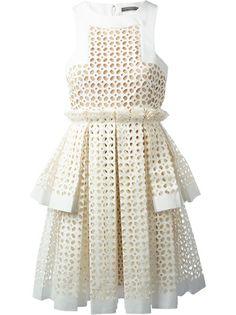 Alexander McQueen Laser Cut Box Pleat Dress