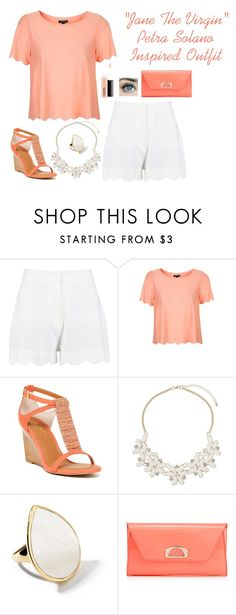 """""""""""Jane The Virgin"""" Petra Solano Inspired Outfit"""" by a-torres2018 ❤ liked on Polyvore featuring Topshop, Seychelles, Dorothy Perkins, Ippolita, Christian Louboutin, MAC Cosmetics, Inspired, janethevirgin and petrasolano"""