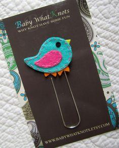 Kids Girl Bird Bookmark, Felt Birdie Bookmark, Paper Clip Sytle Place Holder, bmbird03
