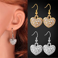 White Gold - Hearts Drop Earrings 18K Real White Gold Platinum Plated SWA Rhinestone Earrings