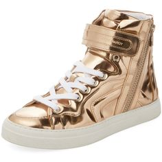Pierre Hardy Women's Metallic Leather Hi-Top - Gold - Size 38 ($379) ❤ liked on Polyvore featuring shoes, sneakers, gold, leather high top sneakers, high top sneakers, leather high tops, platform leather sneakers and gold shoes