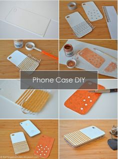 DIY - TUTORIAL - White Pleather and Gold Phone Cases