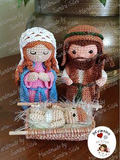 Crochet Applique Patterns Free, Christmas Crochet Patterns, Amigurumi Patterns, Crochet Home, Crochet Dolls, Knit Crochet, Christmas Nativity, Christmas Crafts, Crochet Needles