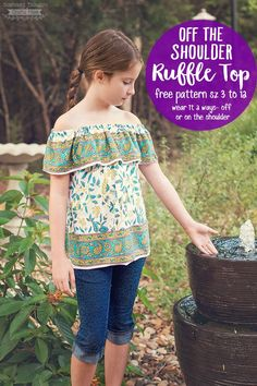 This Off-Shoulder Ruffle Top Pattern, is a free printable pdf sewing pattern in sizes 3 to 12 and will definitely be a hit with your little fashionista!