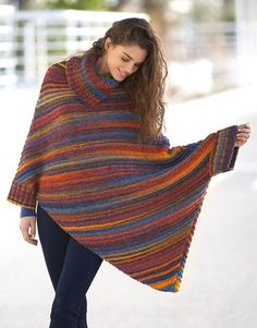 Model / Pattern of Poncho of Woman of Autumn / Winter from KATIA Poncho Au Crochet, Knitted Shawls, Knit Crochet, Knitwear Fashion, Knit Fashion, Laine Katia, Shrug Sweater, Crochet Clothes, Sports Women