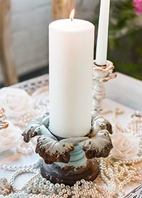 Vintage Inspired Iron Pillar Candle Holder, Style 9606 #davisdbridal #vintageweddings