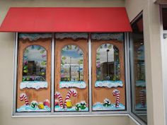 Window Painting for Holidays and Special Events: Holiday Window Splashes Painted Window Art, Painting On Glass Windows, Painted Doors, Window Paint, Best Paint For Glass, Window Display Retail, Window Displays, Window Mural, Candy House