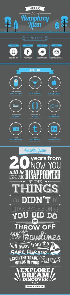 Creative Resume & Favorite Quote by Humphrey Litan, via Behance
