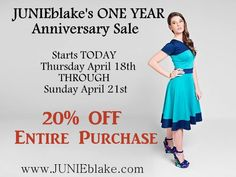 It's JB's Anniversary Weekend!! Check out www.JUNIEblake.com 20% off your entire purchase!