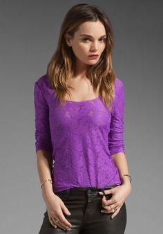Lace Tops | Free People - Purple Scalloped Lace Layering Top
