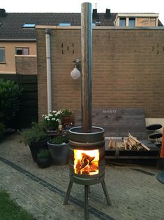 beer keg outside fireplace
