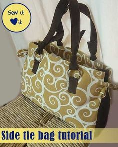 Free Printable Purse Patterns | Side Tie Bag Tutorial ~ Every gal needs a purse for each occasion ...