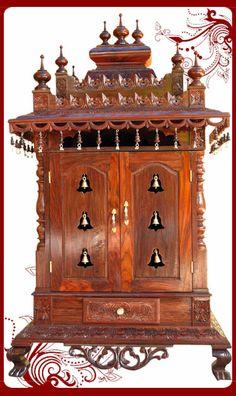 Wooden Pooja Temple With Doors