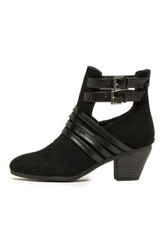 LEATHER ACCENT SUEDE BOOTS- Black
