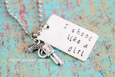 I Shoot Like a Girl Gun Necklace by youregonnalovethis on Etsy Gun Necklace Hunter Necklace Hunting Gift Revolver Shotgun