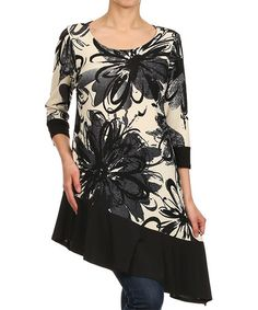 Love this Off White & Black Floral Asymmetrical Tunic - Women on #zulily! #zulilyfinds