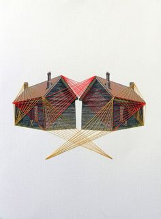"""Embroidery On Paper Original hand threaded art work:""""Connected"""" - Original hand threaded art work. Two houses, forever connected. Part of the """"Lonely house"""" series. Thread on fine-art canvas, acid free paper Paper Embroidery, Learn Embroidery, Embroidery Patterns, Fabric Photography, Photography Ideas, Perspective Photography, Thread Art, Sewing Art, Red Fish"""