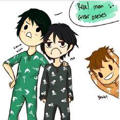 Real men wear onesies lol Nico and Percy humor XD