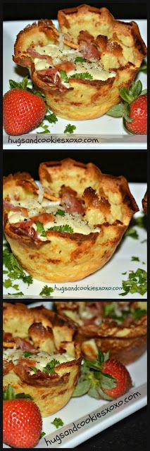 INSANE BREAKFAST! BACON, CHEESE & EGGS BAKED IN CREPE CUPS-THE PERFECT BRUNCH FOOD!