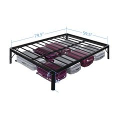GranRest 16 inch Safe Round Corner Platform Metal Bed Frame with Steel Slat GRS-3000, Mattress Foundation Image 4 of 4