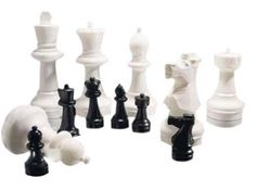 Giant Chess Pieces Complete Set with 25 Inches Tall King - Black/White