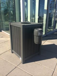 Maglin's custom waste receptacle in high density paper composite looks great at Marché Central in Montréal Quebec. Trash Containers, Recycling Containers, Ipe Wood, Steel Panels, Paper, Outdoor Decor, Plastic, Recycling Bins