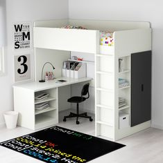 IKEA - STUVA, Loft bed with 2 doors, white/blue, , You can assemble… - Zimmer Pin Stuva Loft Bed, Loft Bed Ikea, Ikea Stuva, Ikea Ikea, Modern Bunk Beds, Modern Loft, Bunk Bed With Desk, Desk Bed, Kids Bunk Beds
